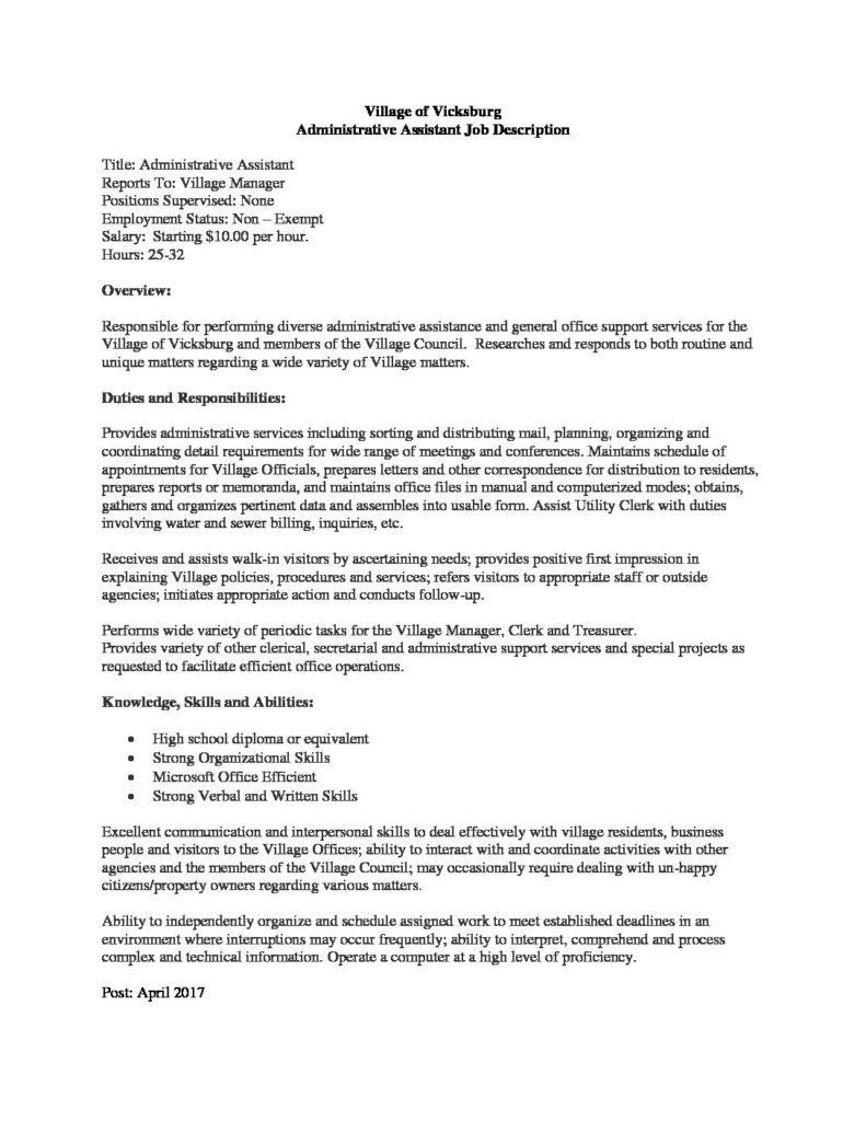 Administrative Assistant Job Description The Village Of